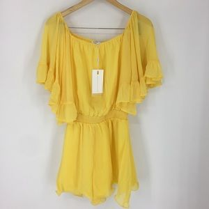 Endless Rose Yellow Chiffon Lined Romper